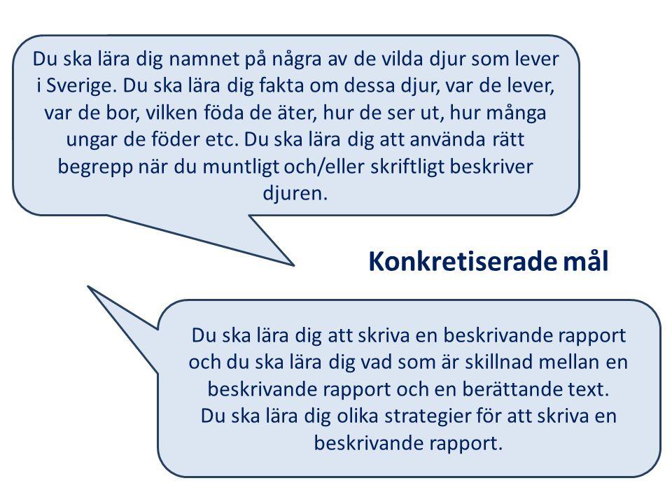 Du ska lära dig namnet på några av de vilda djur som lever i Sverige. Du ska lära dig fakta om dessa djur, var de lever, var de bor, vilken föda de ät