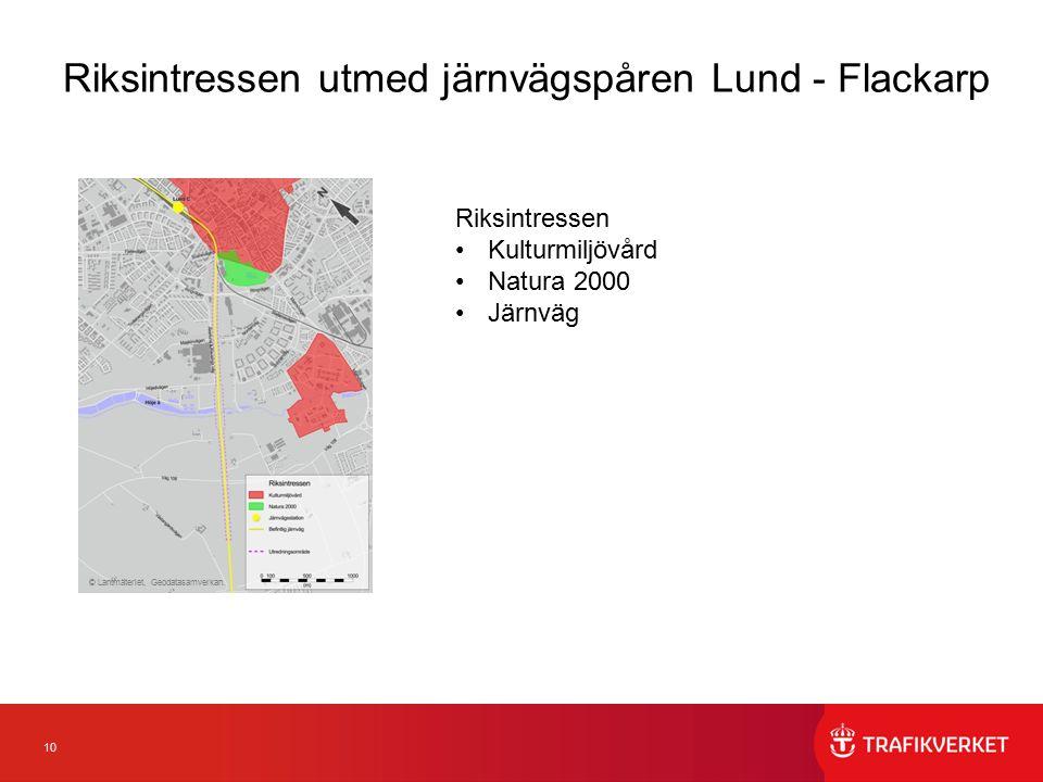 10 Riksintressen utmed järnvägspåren Lund - Flackarp Riksintressen Kulturmiljövård Natura 2000 Järnväg © Lantmäteriet, Geodatasamverkan.