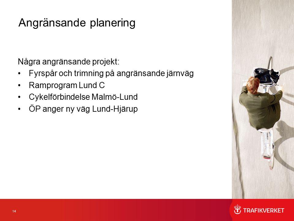14 Några angränsande projekt: Fyrspår och trimning på angränsande järnväg Ramprogram Lund C Cykelförbindelse Malmö-Lund ÖP anger ny väg Lund-Hjärup Angränsande planering