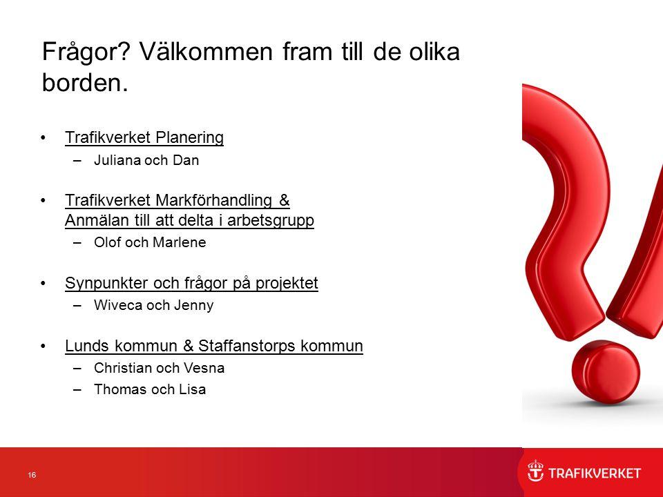 16 Trafikverket Planering –Juliana och Dan Trafikverket Markförhandling & Anmälan till att delta i arbetsgrupp –Olof och Marlene Synpunkter och frågor