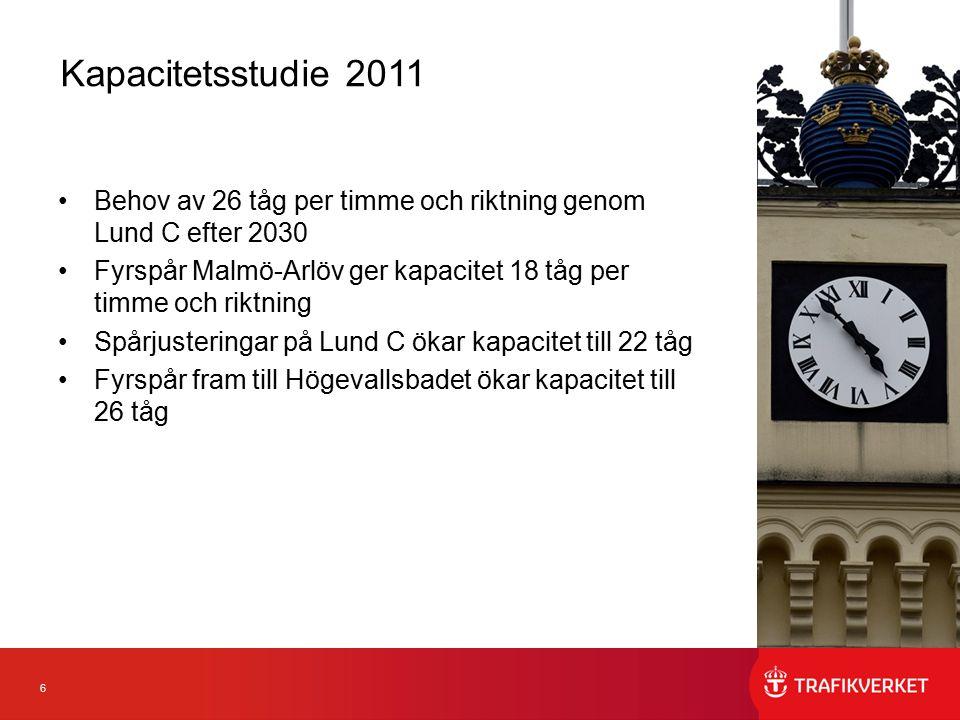 6 Behov av 26 tåg per timme och riktning genom Lund C efter 2030 Fyrspår Malmö-Arlöv ger kapacitet 18 tåg per timme och riktning Spårjusteringar på Lu