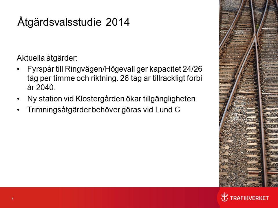 7 Aktuella åtgärder: Fyrspår till Ringvägen/Högevall ger kapacitet 24/26 tåg per timme och riktning. 26 tåg är tillräckligt förbi år 2040. Ny station