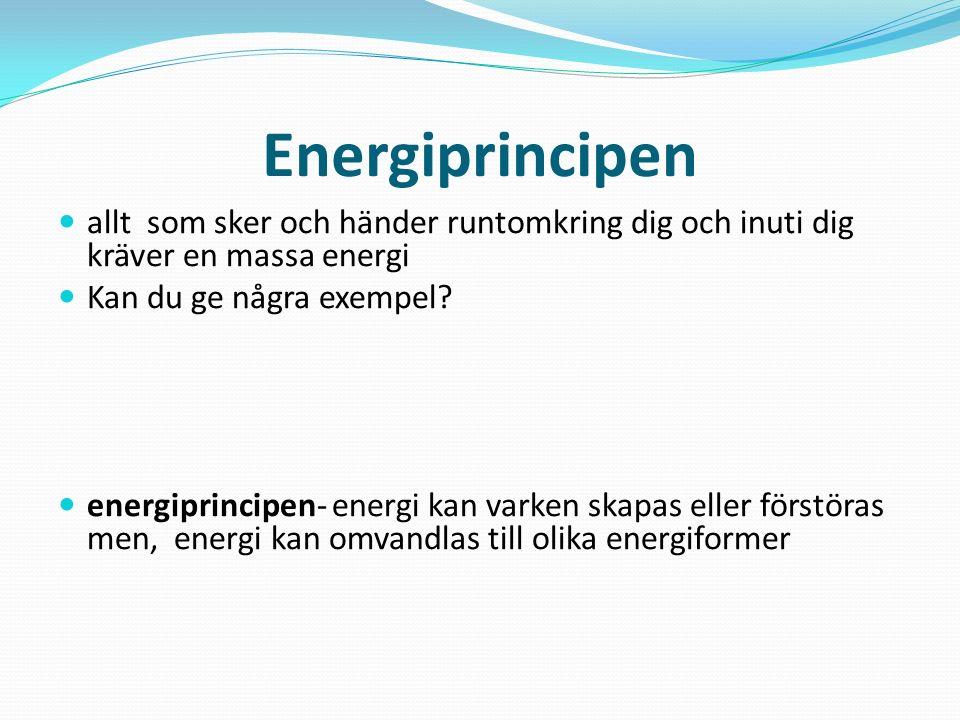 Energiformer strålningsenergi - energiform som kommer från solen värmeenergi - energiform som kommer från solen elektrisk energi - i kraftverken omvandlas olika sorters energi till elektrisk energi, som i sin tur driver tex elapparater i hemmet kemisk energi - kraftverken drivs av kemisk energi från olja, kol eller andra bränslen rörelseenergi - när du tex står med din cykel högst upp i en backe, så omvandlas lägesenergin till rörelseenergi, så fort du börjar att rulla nedför backen lägesenergi - ett föremål som befinner sig högst upp har energi lagrad för att kunna sättas i rörelse, det kallas lägesenergi ljudenergi - din stereo drivs av elektrisk energi, som omvandlas till rörelseenergi i högtalarna, det skapas vibrationer i luften som blir till ljudenergi kraftverk= de industrier som försörjer samhället med energi