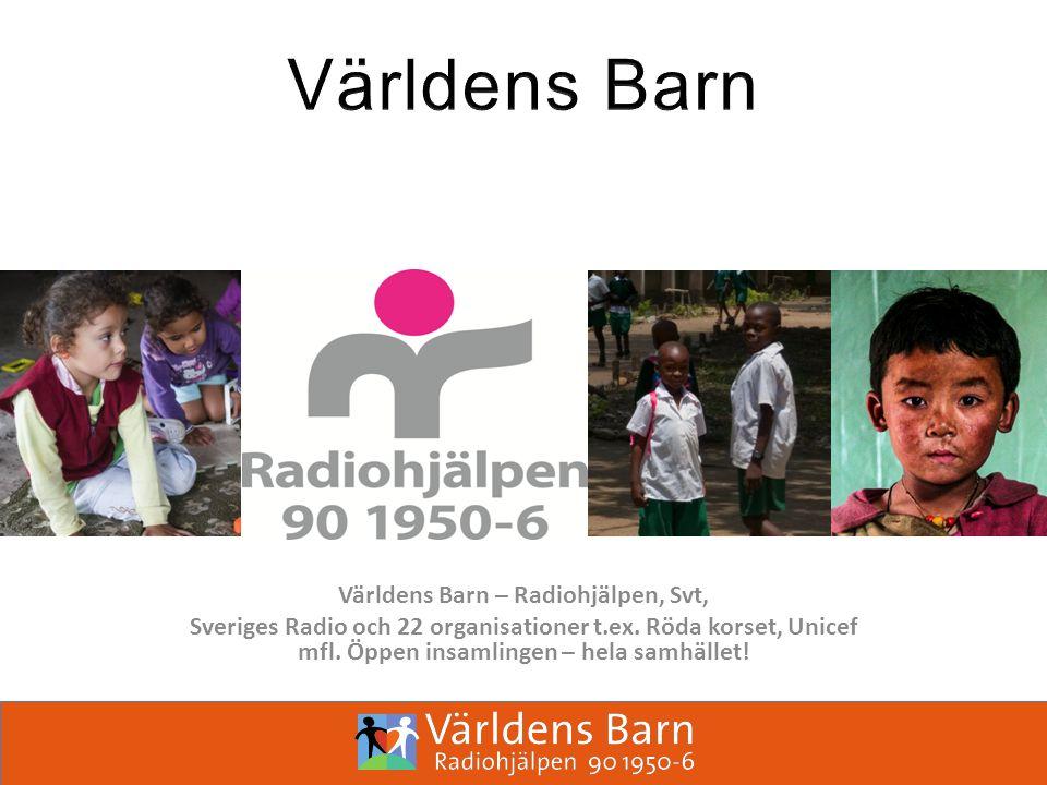 Världens Barn – Radiohjälpen, Svt, Sveriges Radio och 22 organisationer t.ex.