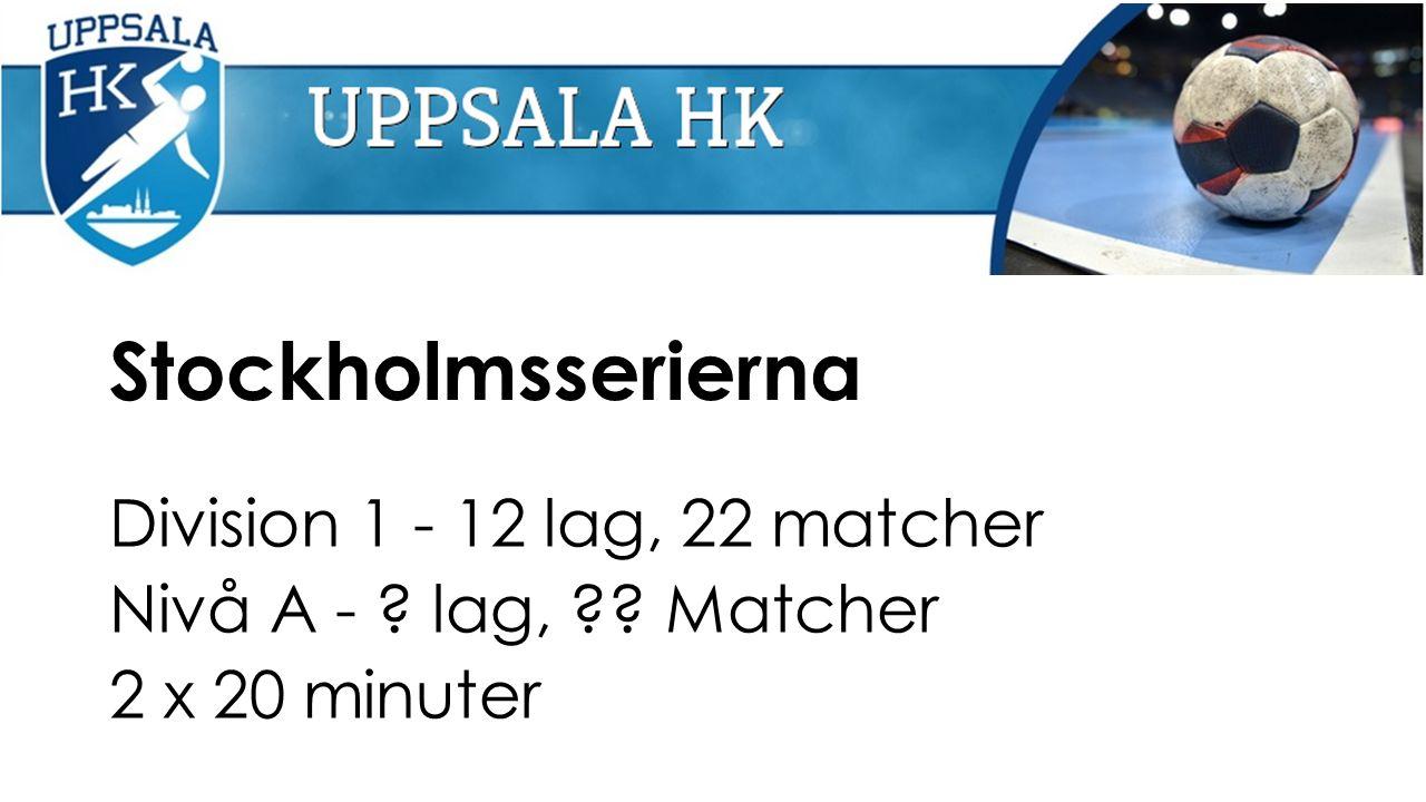 Stockholmsserierna Division 1 - 12 lag, 22 matcher Nivå A - lag, Matcher 2 x 20 minuter