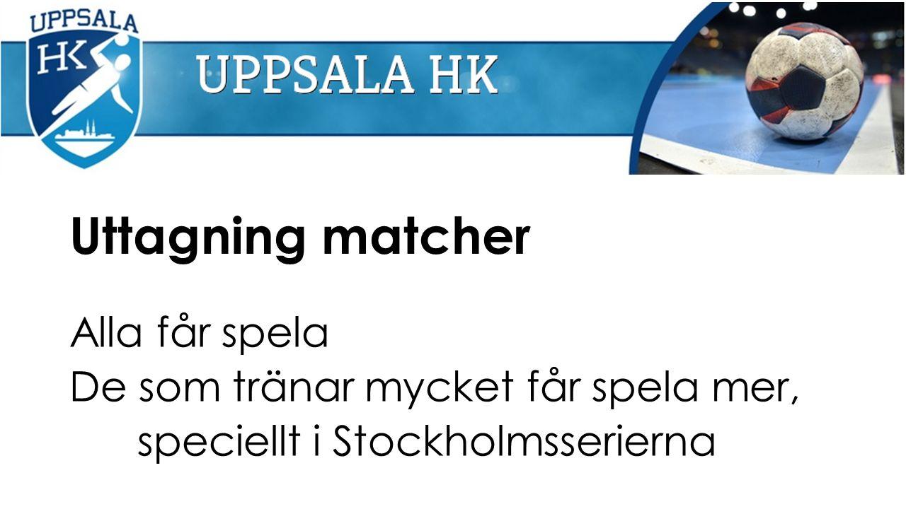 Uttagning matcher Alla får spela De som tränar mycket får spela mer, speciellt i Stockholmsserierna