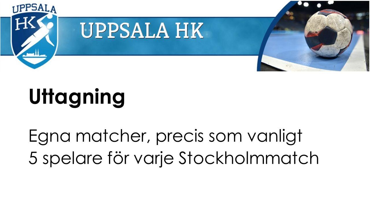 Uttagning Egna matcher, precis som vanligt 5 spelare för varje Stockholmmatch
