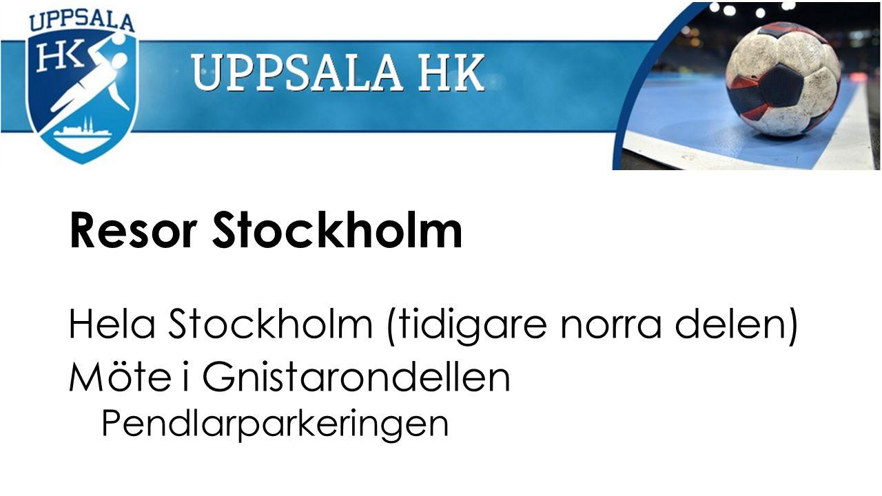 Resor Stockholm Hela Stockholm (tidigare norra delen) Möte i Gnistarondellen Pendlarparkeringen