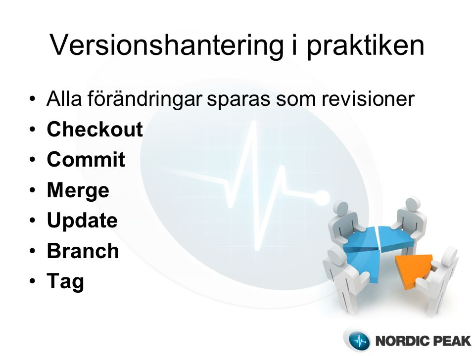 Versionshantering i praktiken Alla förändringar sparas som revisioner Checkout Commit Merge Update Branch Tag