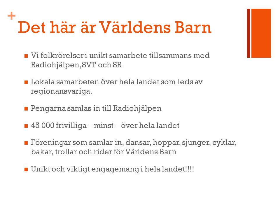 + Det här är Världens Barn Vi folkrörelser i unikt samarbete tillsammans med Radiohjälpen, SVT och SR Lokala samarbeten över hela landet som leds av regionansvariga.