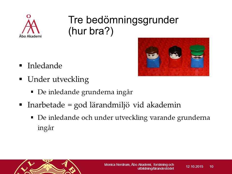 Tre bedömningsgrunder (hur bra?)  Inledande  Under utveckling  De inledande grunderna ingår  Inarbetade = god lärandmiljö vid akademin  De inleda