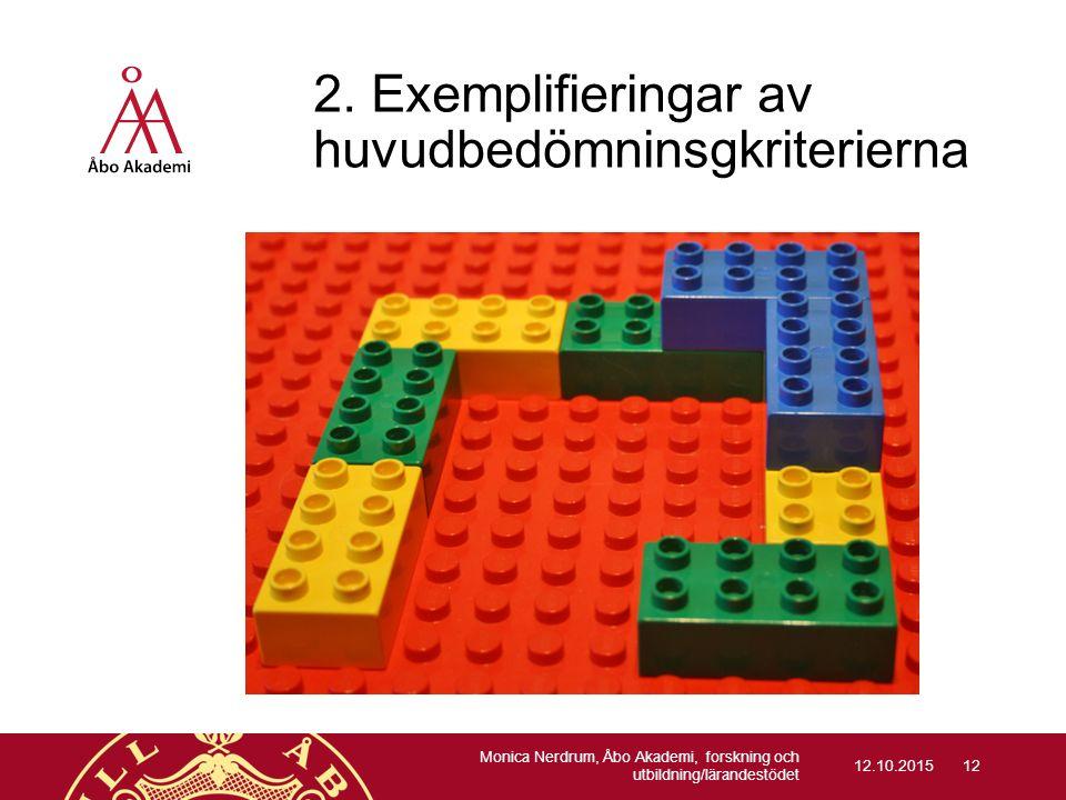 2. Exemplifieringar av huvudbedömninsgkriterierna 12.10.2015 Monica Nerdrum, Åbo Akademi, forskning och utbildning/lärandestödet 12