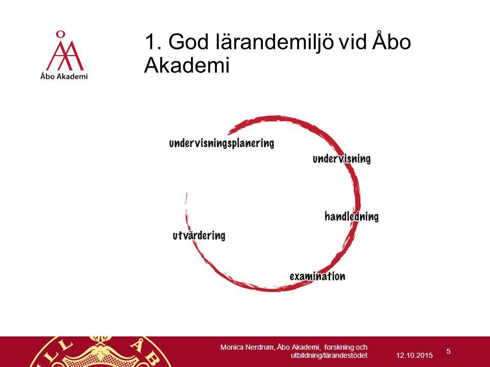 1. God lärandemiljö vid Åbo Akademi 12.10.2015 Monica Nerdrum, Åbo Akademi, forskning och utbildning/lärandestödet 5