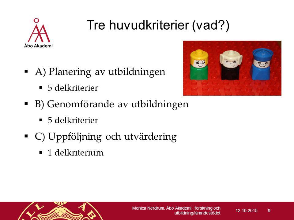 Tre huvudkriterier (vad?)  A) Planering av utbildningen  5 delkriterier  B) Genomförande av utbildningen  5 delkriterier  C) Uppföljning och utvä
