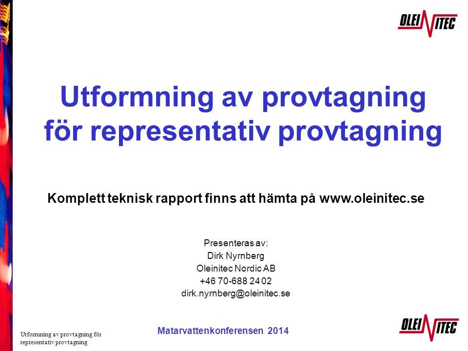 Matarvattenkonferensen 2005 Utformning av provtagning för representativ provtagning Komplett teknisk rapport finns att hämta på www.oleinitec.se Prese