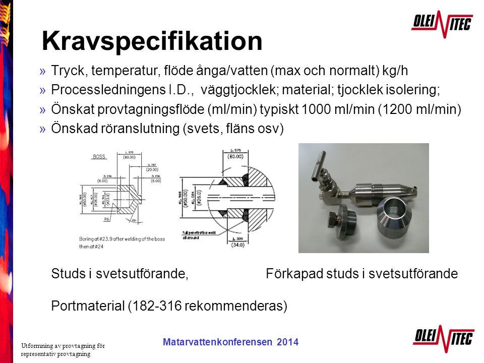 Matarvattenkonferensen 2005 Kravspecifikation »Tryck, temperatur, flöde ånga/vatten (max och normalt) kg/h »Processledningens I.D., väggtjocklek; mate