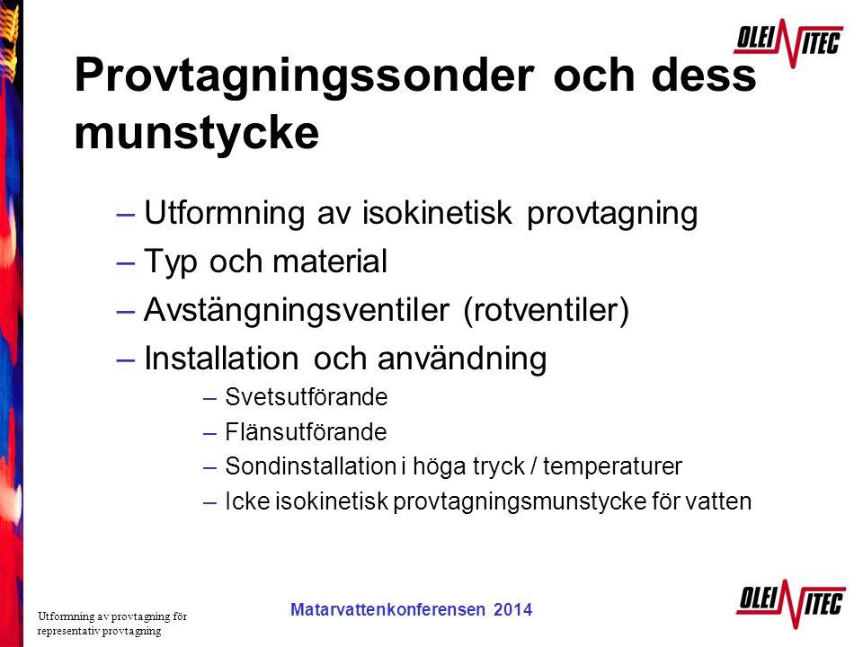 Matarvattenkonferensen 2005 Provtagningssonder och dess munstycke –Utformning av isokinetisk provtagning –Typ och material –Avstängningsventiler (rotv