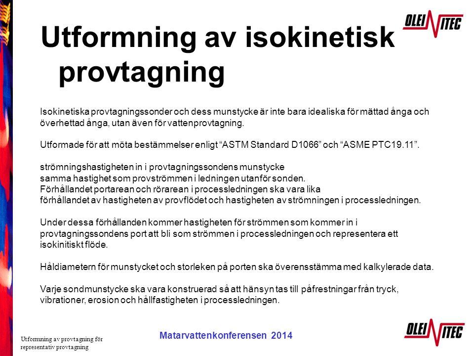 Matarvattenkonferensen 2005 Utformning av isokinetisk provtagning Utformning av provtagning för representativ provtagning Matarvattenkonferensen 2014