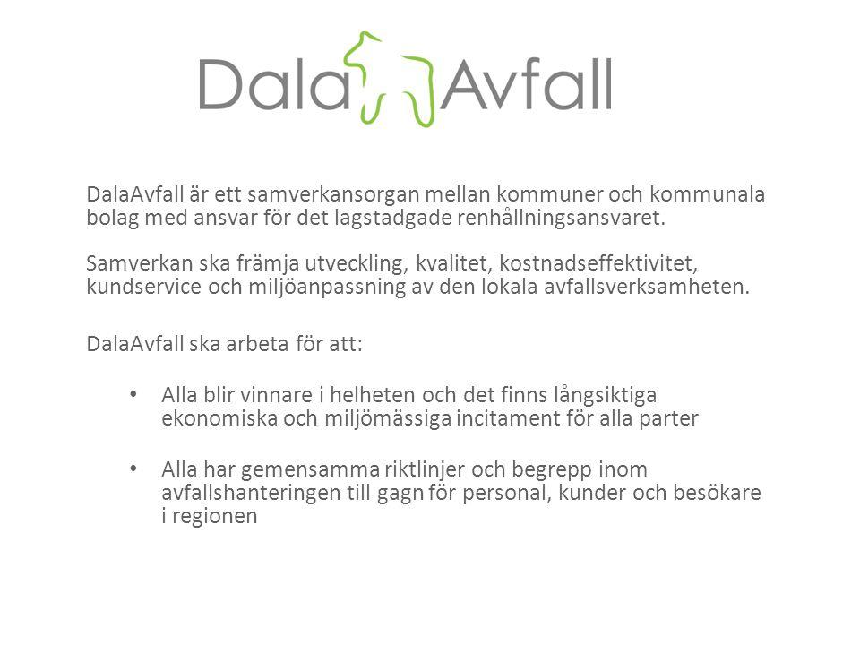 DalaAvfall är ett samverkansorgan mellan kommuner och kommunala bolag med ansvar för det lagstadgade renhållningsansvaret. Samverkan ska främja utveck