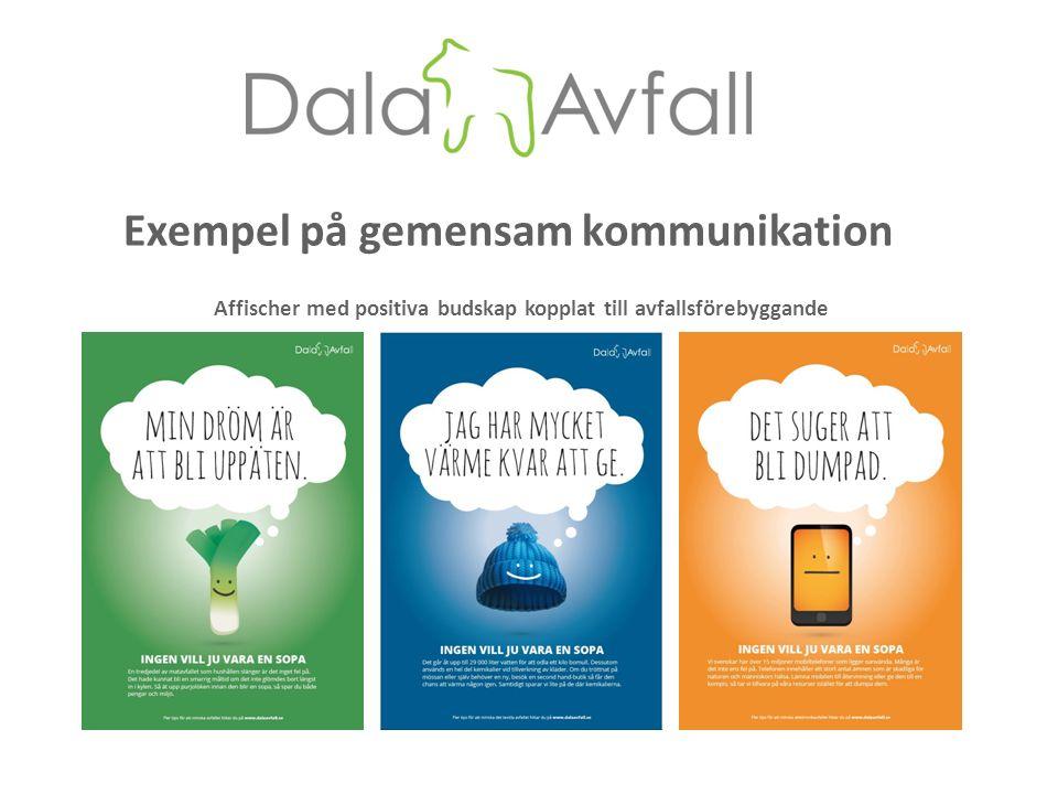 Exempel på gemensam kommunikation Affischer med positiva budskap kopplat till avfallsförebyggande