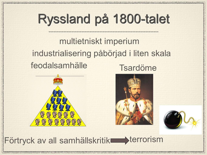 Ryssland på 1800-talet Tsardöme feodalsamhälle Förtryck av all samhällskritik terrorism industrialisering påbörjad i liten skala multietniskt imperium