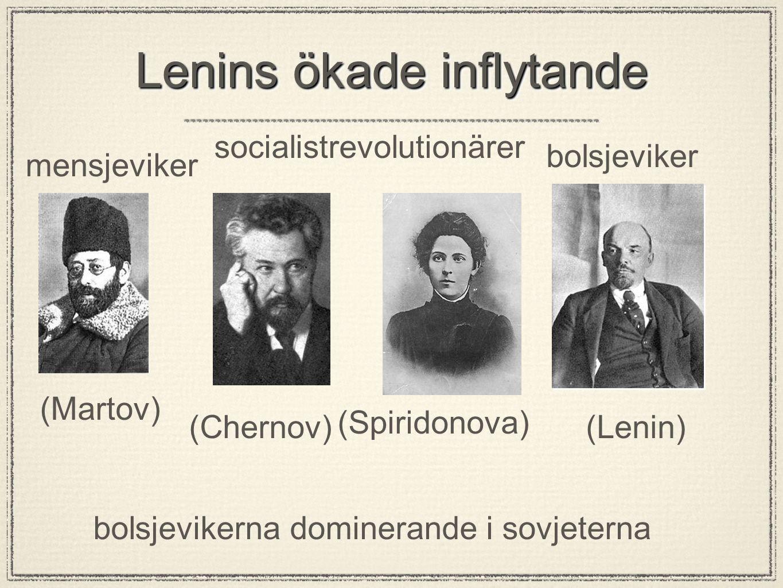 Lenins ökade inflytande mensjeviker bolsjeviker socialistrevolutionärer bolsjevikerna dominerande i sovjeterna (Martov) (Lenin) (Spiridonova) (Chernov)
