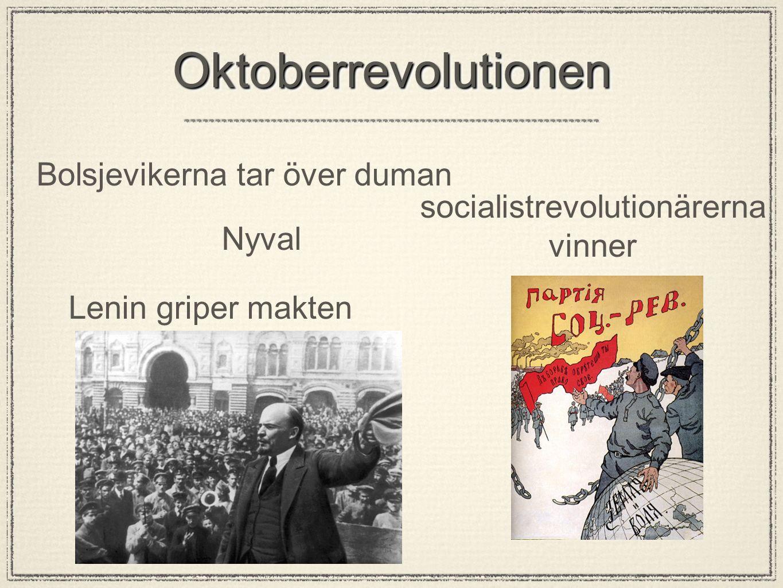 OktoberrevolutionenOktoberrevolutionen Bolsjevikerna tar över duman Nyval Lenin griper makten socialistrevolutionärerna vinner