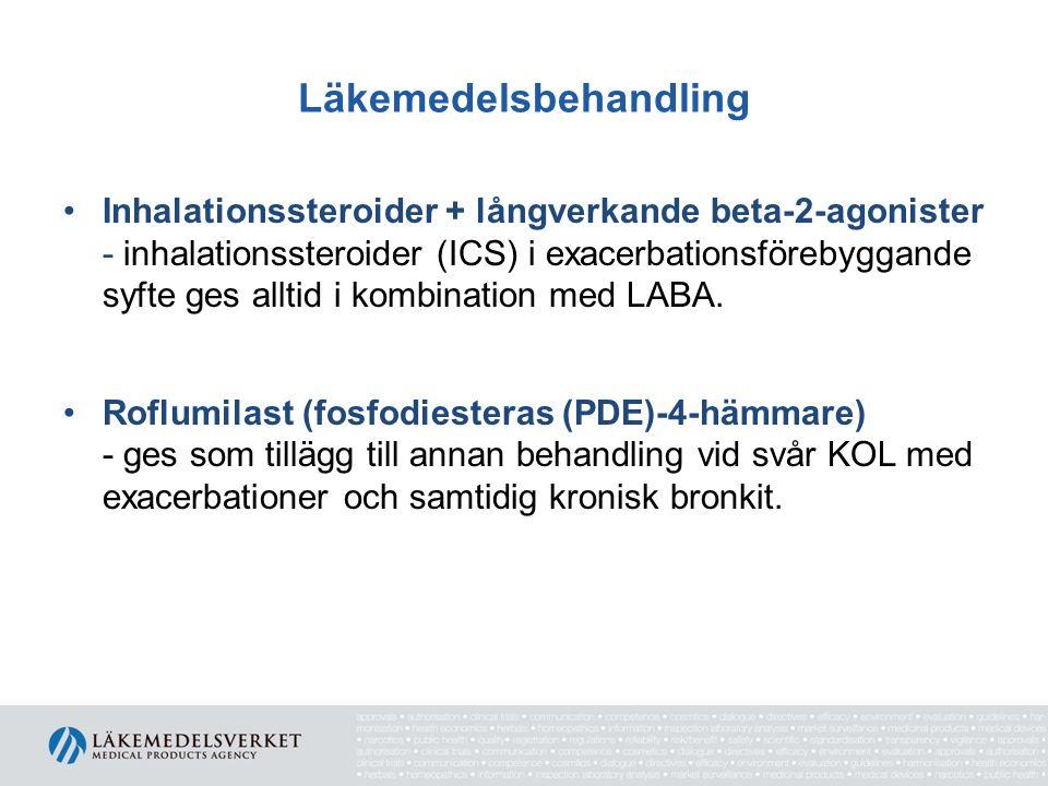 Läkemedelsbehandling Inhalationssteroider + långverkande beta-2-agonister - inhalationssteroider (ICS) i exacerbationsförebyggande syfte ges alltid i