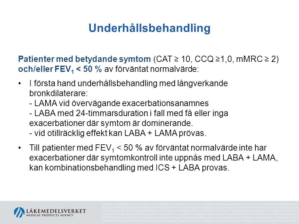 Underhållsbehandling Patienter med betydande symtom (CAT ≥ 10, CCQ ≥1,0, mMRC ≥ 2) och/eller FEV 1 < 50 % av förväntat normalvärde: I första hand unde