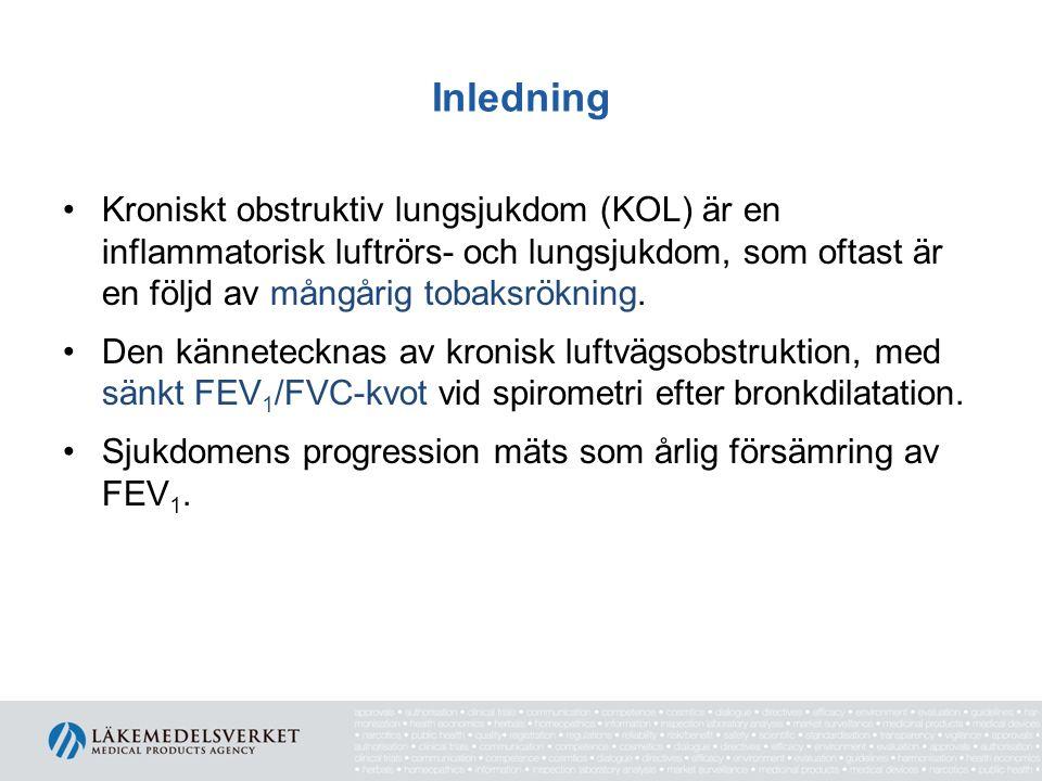 Underhållsbehandling Faktorer av viktig betydelse vid val av underhållsbehandling: Symtom Exacerbationer Lungfunktion