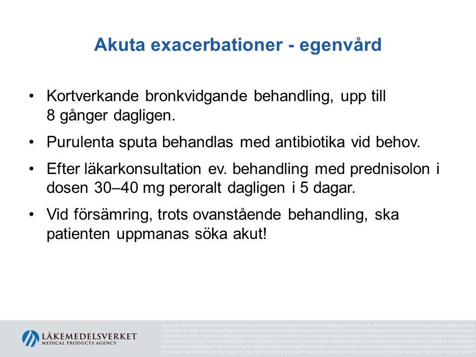 Akuta exacerbationer - egenvård Kortverkande bronkvidgande behandling, upp till 8 gånger dagligen. Purulenta sputa behandlas med antibiotika vid behov