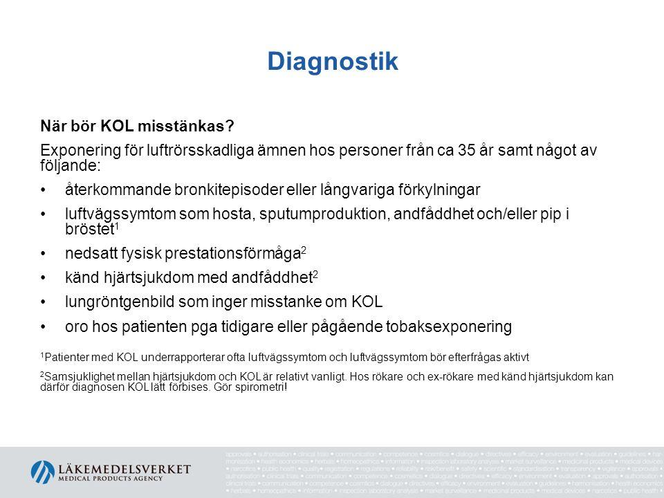 Diagnostik Kronisk luftvägsobstruktion vid KOL bekräftas genom att: - med spirometri efter bronkdilatation påvisa FEV 1 /FVC<0,7 - i vissa fall påvisa att luftvägsobstruktionen inte normaliseras efter steroidbehandling.