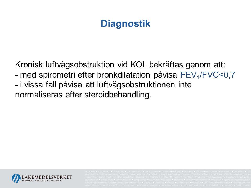 Diagnostik Kronisk luftvägsobstruktion vid KOL bekräftas genom att: - med spirometri efter bronkdilatation påvisa FEV 1 /FVC<0,7 - i vissa fall påvisa