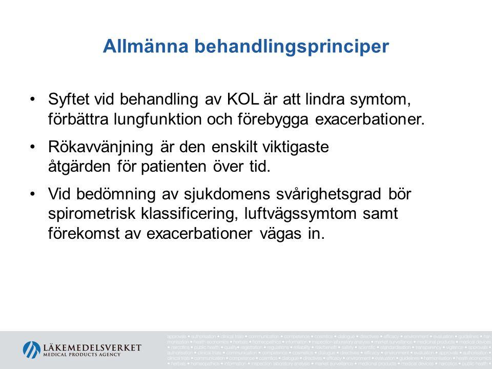 Allmänna behandlingsprinciper Syftet vid behandling av KOL är att lindra symtom, förbättra lungfunktion och förebygga exacerbationer. Rökavvänjning är