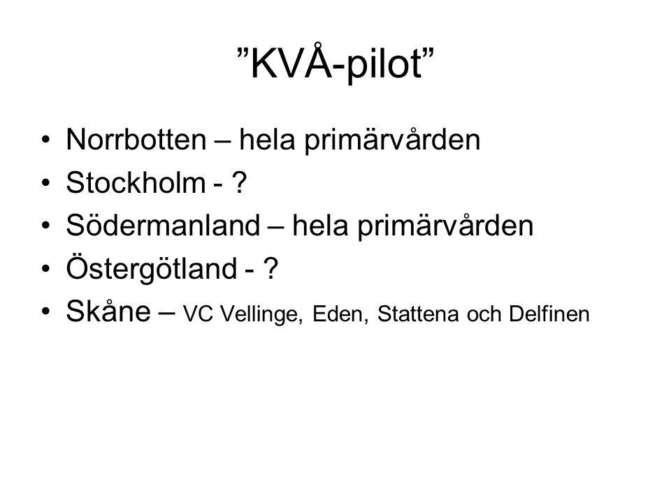 KVÅ-pilot Norrbotten – hela primärvården Stockholm - .