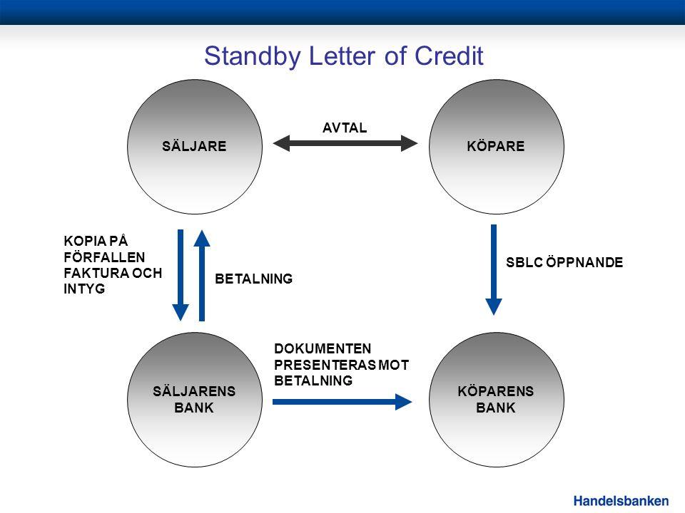 Standby Letter of Credit SBLC ÖPPNANDE EXPORTÖR KOPIA PÅ FÖRFALLEN FAKTURA OCH INTYG SÄLJARE KÖPARE SÄLJARENS BANK KÖPARENS BANK AVTAL DOKUMENTEN PRESENTERAS MOT BETALNING BETALNING