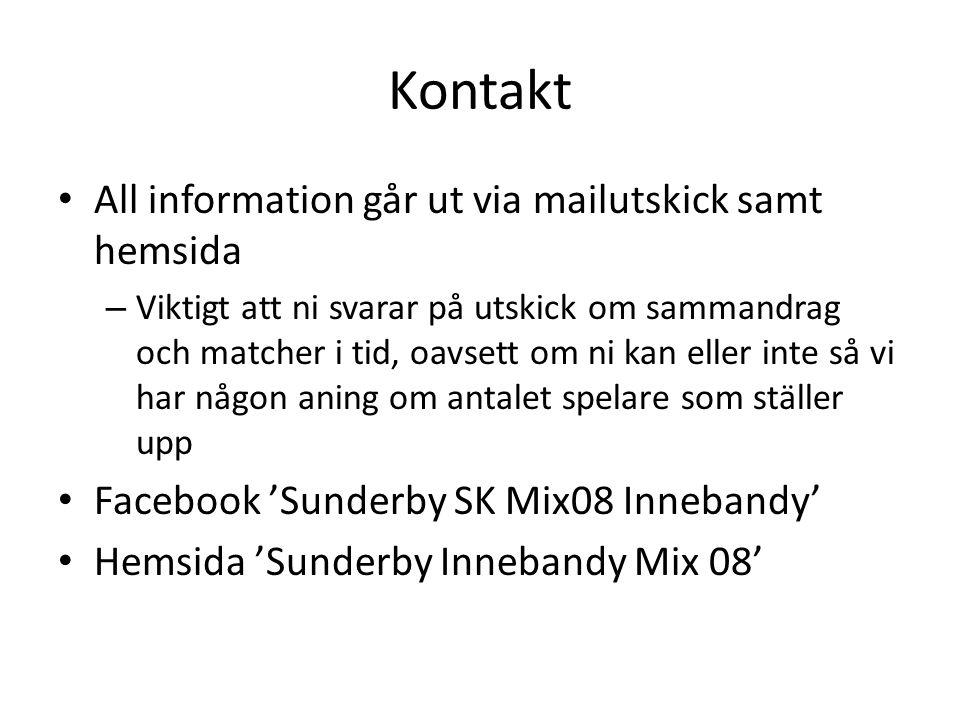 Kontakt All information går ut via mailutskick samt hemsida – Viktigt att ni svarar på utskick om sammandrag och matcher i tid, oavsett om ni kan eller inte så vi har någon aning om antalet spelare som ställer upp Facebook 'Sunderby SK Mix08 Innebandy' Hemsida 'Sunderby Innebandy Mix 08'