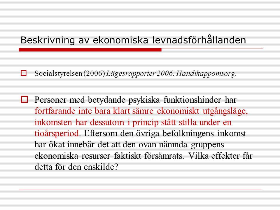 Beskrivning av ekonomiska levnadsförhållanden  Socialstyrelsen (2006) Lägesrapporter 2006. Handikappomsorg.  Personer med betydande psykiska funktio