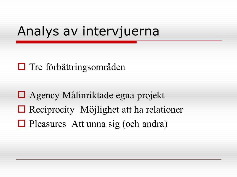 Analys av intervjuerna  Tre förbättringsområden  Agency Målinriktade egna projekt  Reciprocity Möjlighet att ha relationer  Pleasures Att unna sig