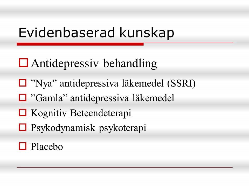 """Evidenbaserad kunskap  Antidepressiv behandling  """"Nya"""" antidepressiva läkemedel (SSRI)  """"Gamla"""" antidepressiva läkemedel  Kognitiv Beteendeterapi"""