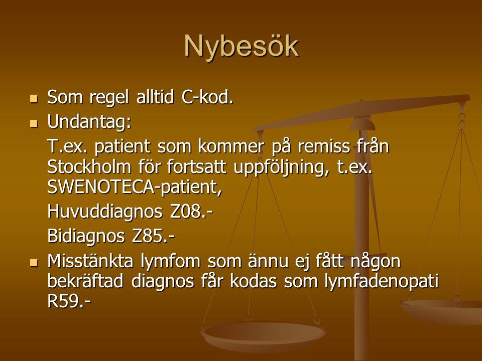 Nybesök Som regel alltid C-kod. Som regel alltid C-kod. Undantag: Undantag: T.ex. patient som kommer på remiss från Stockholm för fortsatt uppföljning