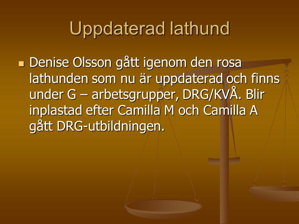 Uppdaterad lathund Denise Olsson gått igenom den rosa lathunden som nu är uppdaterad och finns under G – arbetsgrupper, DRG/KVÅ. Blir inplastad efter