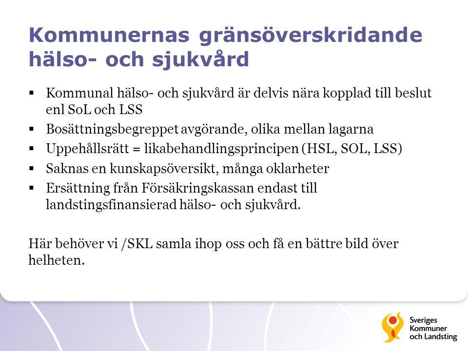 Kommunernas gränsöverskridande hälso- och sjukvård  Kommunal hälso- och sjukvård är delvis nära kopplad till beslut enl SoL och LSS  Bosättningsbegr