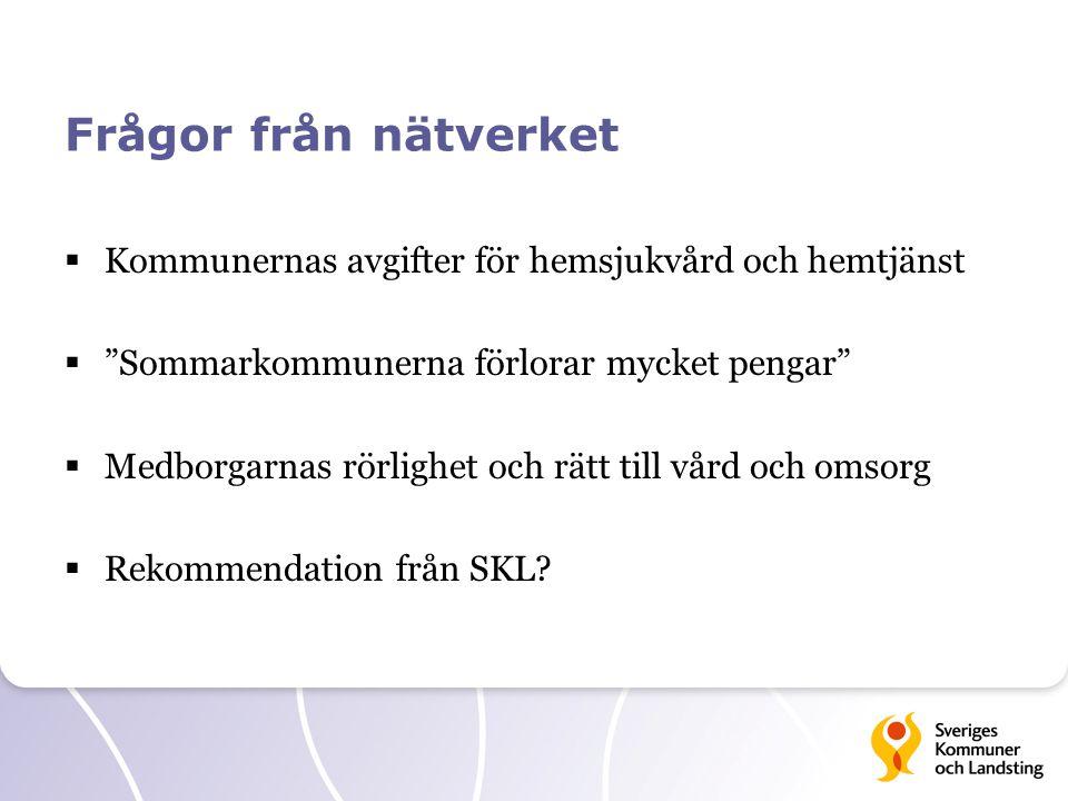 """Frågor från nätverket  Kommunernas avgifter för hemsjukvård och hemtjänst  """"Sommarkommunerna förlorar mycket pengar""""  Medborgarnas rörlighet och rä"""