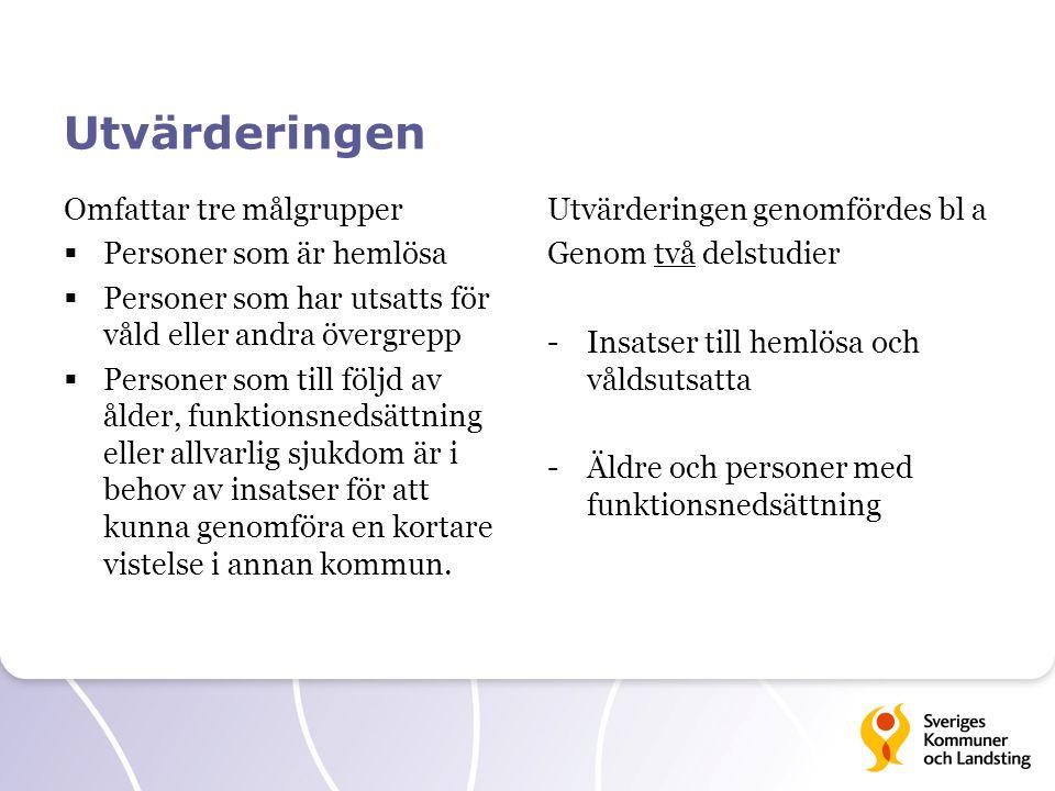 Utvärderingen Omfattar tre målgrupper  Personer som är hemlösa  Personer som har utsatts för våld eller andra övergrepp  Personer som till följd av