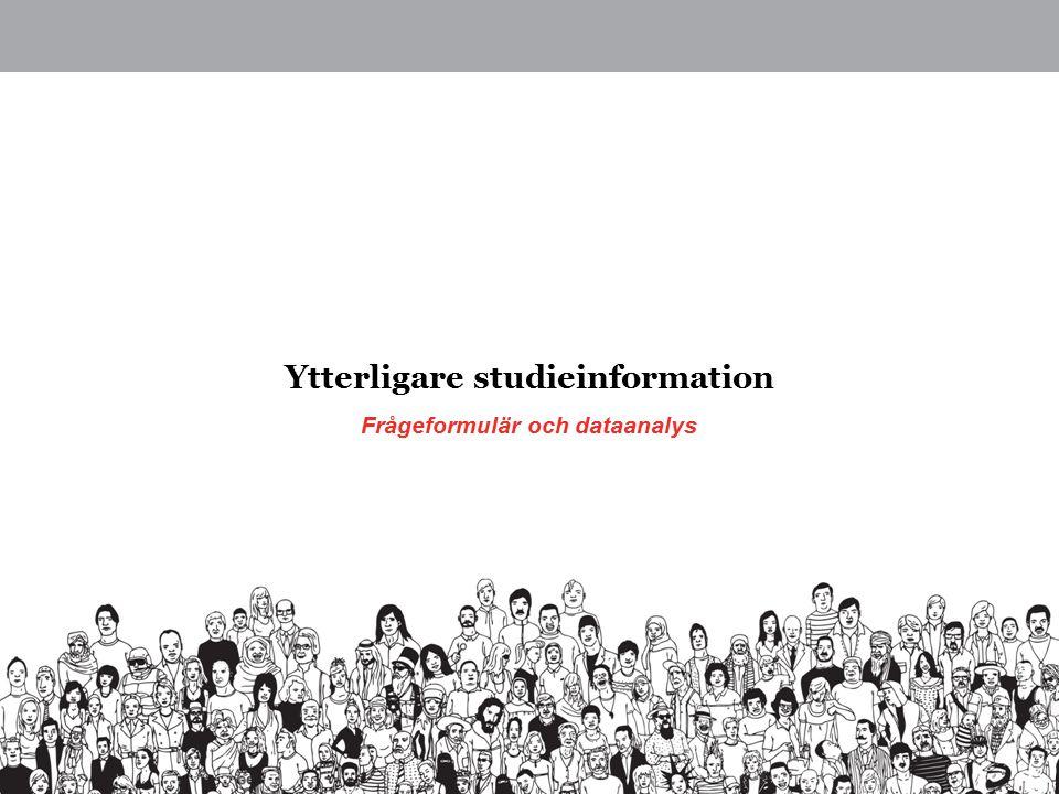 Frågeformulär och dataanalys Ytterligare studieinformation