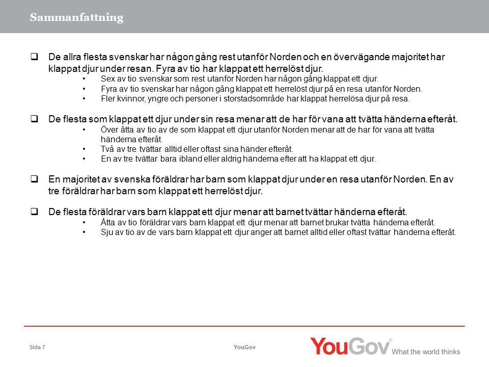 Slutsatser YouGovSida 8 En övervägande majoritet av svenskar löper risk för Zoonoser:  Sex av tio svenskar har klappat djur utanför Norden och fyra av tio har någon gång klappat ett herrelöst djur.