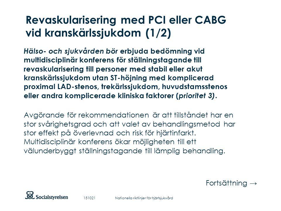 Att visa fotnot, datum, sidnummer Klicka på fliken Infoga och klicka på ikonen sidhuvud/sidfot Klistra in text: Klistra in texten, klicka på ikonen (Ctrl), välj Behåll endast text Revaskularisering med PCI eller CABG vid kranskärlssjukdom (1/2) Hälso- och sjukvården bör erbjuda bedömning vid multidisciplinär konferens för ställningstagande till revaskularisering till personer med stabil eller akut kranskärlssjukdom utan ST-höjning med komplicerad proximal LAD-stenos, trekärlssjukdom, huvudstamsstenos eller andra komplicerade kliniska faktorer ( prioritet 3).