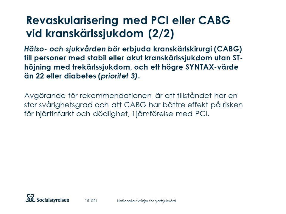 Att visa fotnot, datum, sidnummer Klicka på fliken Infoga och klicka på ikonen sidhuvud/sidfot Klistra in text: Klistra in texten, klicka på ikonen (Ctrl), välj Behåll endast text Revaskularisering med PCI eller CABG vid kranskärlssjukdom (2/2) Hälso- och sjukvården bör erbjuda kranskärlskirurgi (CABG) till personer med stabil eller akut kranskärlssjukdom utan ST- höjning med trekärlssjukdom, och ett högre SYNTAX-värde än 22 eller diabetes ( prioritet 3).