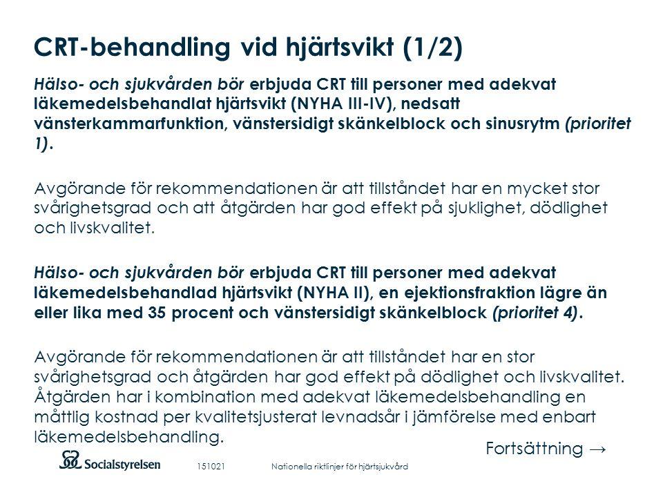Att visa fotnot, datum, sidnummer Klicka på fliken Infoga och klicka på ikonen sidhuvud/sidfot Klistra in text: Klistra in texten, klicka på ikonen (Ctrl), välj Behåll endast text CRT-behandling vid hjärtsvikt (1/2) Hälso- och sjukvården bör erbjuda CRT till personer med adekvat läkemedelsbehandlat hjärtsvikt (NYHA III-IV), nedsatt vänsterkammarfunktion, vänstersidigt skänkelblock och sinusrytm (prioritet 1).